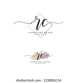 R C RC Initial logo template vector