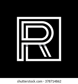 R capital letter enclosed in a square. . Overlapping with shadows monogram, logo, emblem. Trendy design.