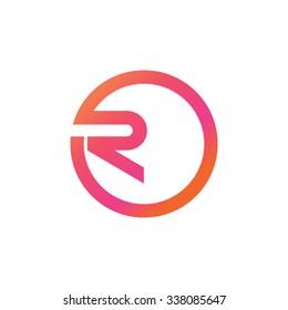 R in circle logotype design