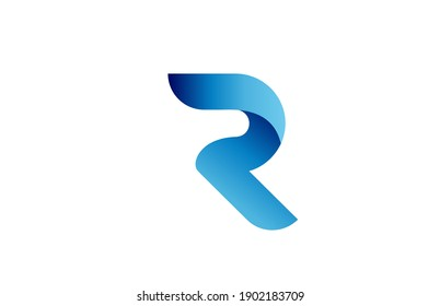 R creative blue gradient alphabet letter logo for branding and business. Design for lettering and corporate identity. Professional icon template