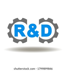 R & D Gears Mechanism Icon Vector. Research and Development Project Business Education Logo.