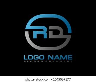 R D Initial circle logo template vector