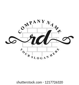 R D Initial handwriting logo vector. Hand lettering for designs.