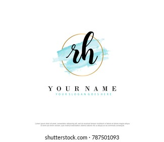 R D Initial water color logo template vector