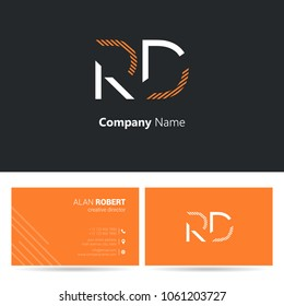 R & D joint logo stroke letter design with business card template