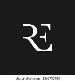 RE or R E letter alphabet logo design in vector format.