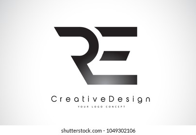 RE R E Letter Logo Design in Black Colors. Creative Modern Letters Vector Icon Logo Illustration.