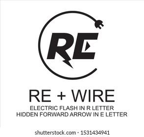 RE R E LOGO ELECTRIC WIRE SIGN SYMBOL