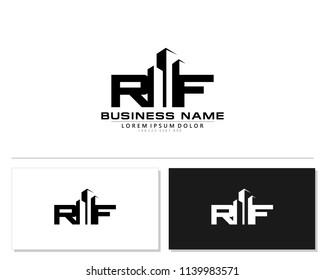 R F Initial building logo concept