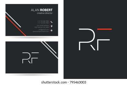 R & F joint logo stroke letter design with business card template