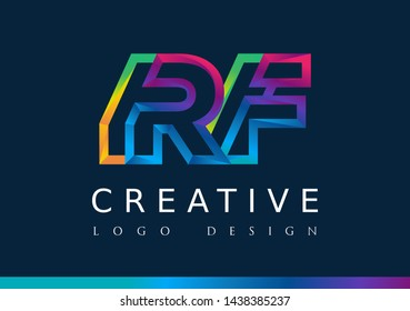 R F Logo. RF Letter Design Vector with Magenta blue and green yellow color