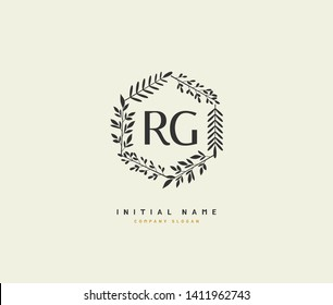 R G RG Beauty vector initial logo, handwriting logo of initial wedding, fashion, jewerly, heraldic, boutique, floral and botanical with creative template for any company or business.