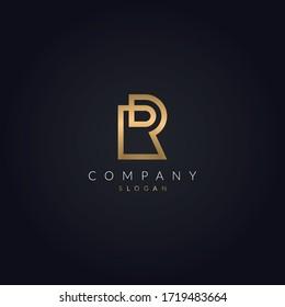 R Golden Color Letter Luxury logo Monogram Icon Template.