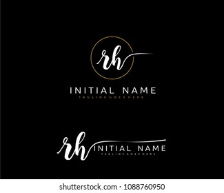 R H Initial handwriting logo vector. Hand lettering for designs.