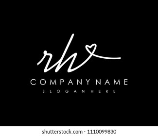 R H Initial handwriting logo vector