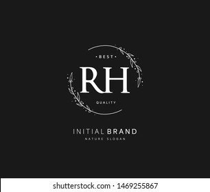 R H RH Beauty vector initial logo, handwriting logo of initial signature, wedding, fashion, jewerly, boutique, floral and botanical with creative template for any company or business.