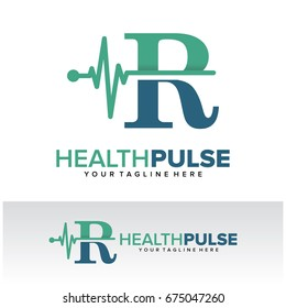R Health Pulse Letter Logo Template Design Vector, Emblem, Design Concept, Creative Symbol, Icon