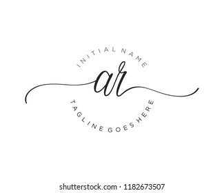 A R Initial handwriting logo vector. Hand lettering for designs
