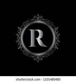 R initial letter logo with luxury ornament. Silver color edition