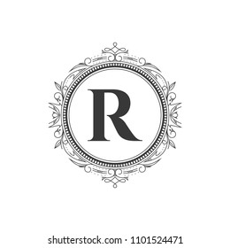 r initial letter logo template with luxury ornament