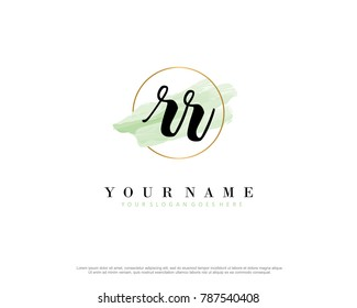 R R Initial water color logo template vector