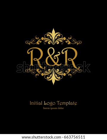 r r initial wedding logo template stock vector royalty free