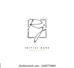 R J RJ Beauty vector initial logo, handwriting logo of initial signature, wedding, fashion, jewerly, boutique, floral and botanical with creative template for any company or business.