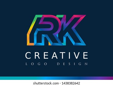 R K Logo. RK Letter Design Vector with Magenta blue and green yellow color