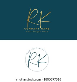 R K RK Initial letter handwriting and signature logo. Beauty vector initial logo .Fashion, boutique, floral and botanical