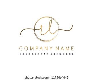 R L Initial handwriting logo vector