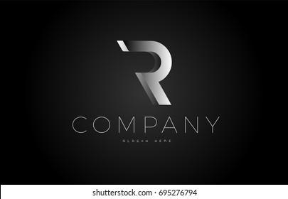R letter alphabet black white grey silver logo vector creative company icon design 3d template modern background