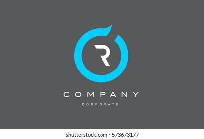 R letter alphabet blue circle flat modern creative vector logo icon sign design template