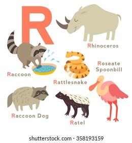 R letter animals set. English alphabet. Vector illustration, isolated on white background