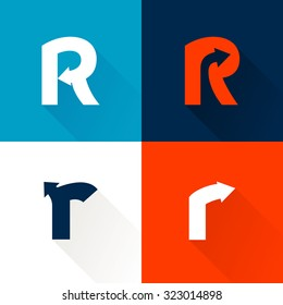 R letter with arrows set. Vector design template elements for your application or corporate identity.