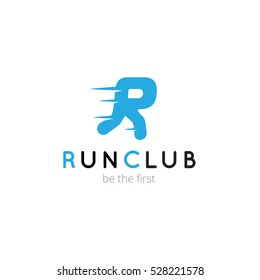 R letter creative running club logo. Vector abstract sport logotype
