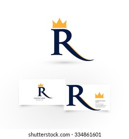 R letter with crown. Modern icon design logo element with business card template. Best for identity and logotypes