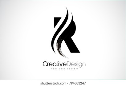 R Letter Design Brush Paint Stroke. Letter Logo with Black Paintbrush Stroke.