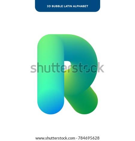R Letter Design Soft Bubble 3 D Alphabet Stock Vector Royalty Free