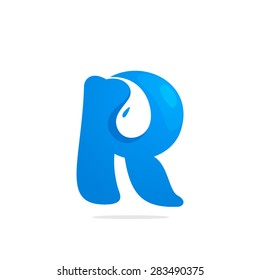 R letter eco logo, water drop negative space volume icon