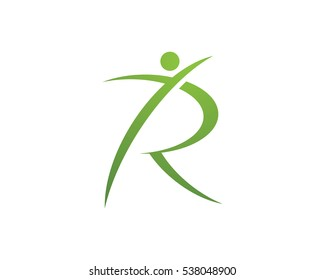 R Letter with Fun people Healthy Life Logo template