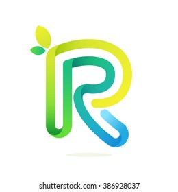 R letter with green leaves eco logo. Font style, vector design template elements for your application or corporate identity.
