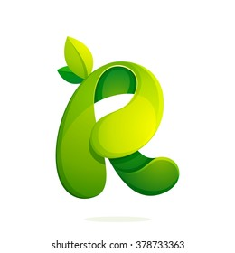 R letter with green leaves logo, volume icon. Font style, vector design template elements for your ecology application or corporate identity.