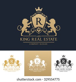 R letter, King Real Estate, Luxury Crests Logo Template