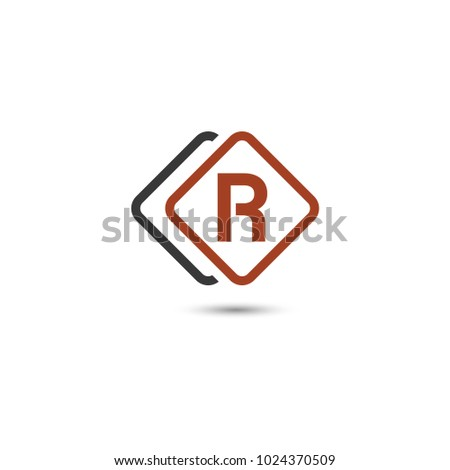 R Letter Layer Square Rounded Vector Stock Vector Royalty Free