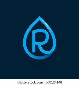 R letter logo in blue water drop. Line style icon. Vector ecology elements for posters, t-shirts and cards.