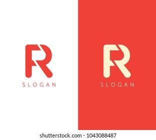 R letter logo cut design template