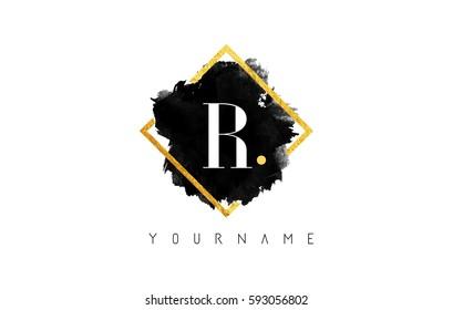 R Letter Logo Design with Black ink Stroke over Golden Square Frame.