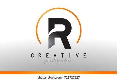 R Letter Logo Design with Black Orange Color. Cool Modern Icon Letters Logo Vector.