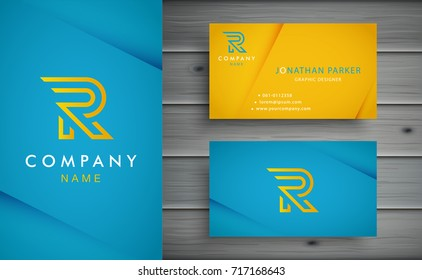 R letter logo design with corporate business card template.