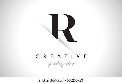 R Letter Logo Design with Creative Paper Cut and Serif Font.